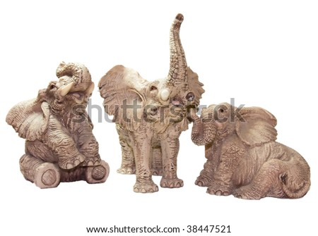 Multi Statuette elephant - stock photo