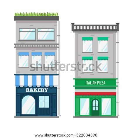 Multi-storey building with roof terrace and a shop on the ground floor. Flat style  - stock photo