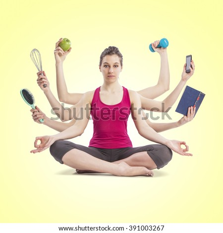 multi tasking woman portrait in yoga position with many arms