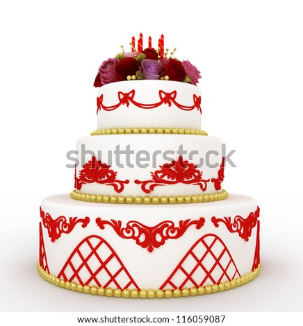 multi-tiered birthday celebration cake with sugar roses and candles. Isolated on white background