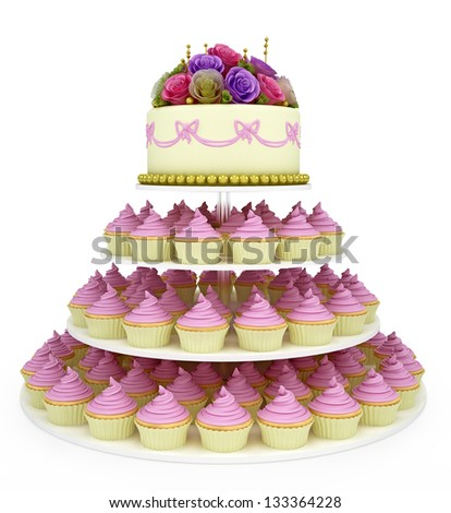 multi tiered wedding celebration cake with sugar roses and cupcake. Isolated on white background