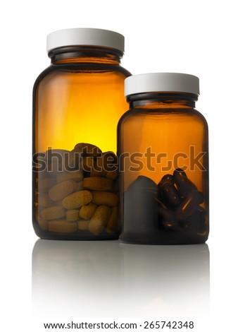 Multi Vitamins in Bottles - stock photo