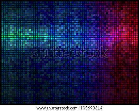 Multicolor abstract lights disco background. Square pixel mosaic - stock photo