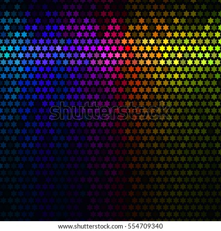 Multicolor abstract lights disco background. Star pixel mosaic