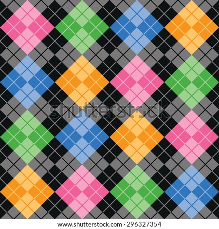 Multicolor argyle pattern with random color blocks of pink, blue, green and yellow on a black background repeats seamlessly.