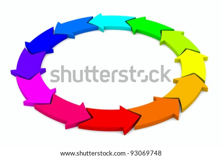 multicolor arrows on white background. Isolated 3D image