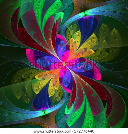 Multicolor beautiful fractal flower. Computer generated graphics. - stock photo