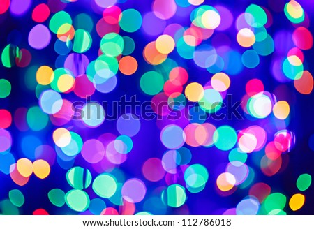 Multicolor bokeh circle background (illumination garland decoration) - stock photo