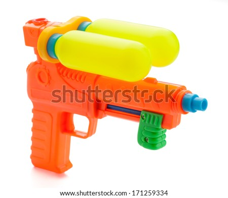 multicolor child water gun, isolated on white - stock photo