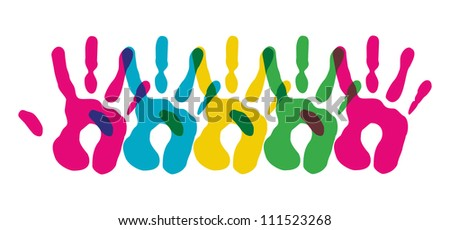 Multicolor creative diversity hands isolated symbol. - stock photo