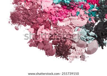 multicolor crushed eyeshadows isolated on white background - stock photo