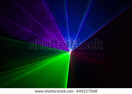 Multicolor disco laser. Seen from the front