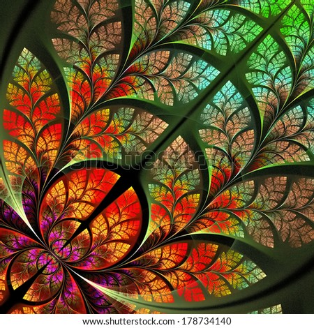 Multicolor fabulous fractal pattern. Collection - tree foliage. Computer generated graphics. - stock photo