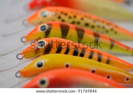 Multicolor fishing wobblers - stock photo