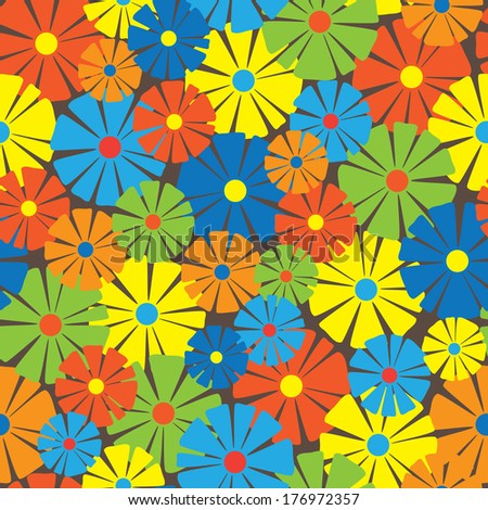 multicolor floral ornament seamless pattern