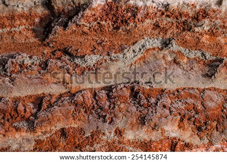 multicolor fragment of salt mine's wall - stock photo