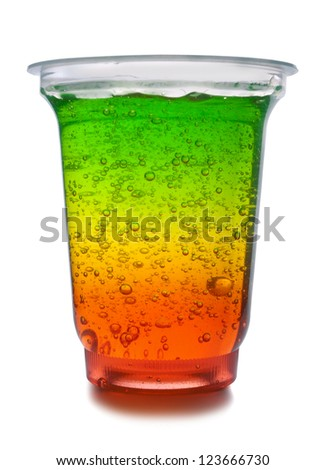 Multicolor fruit jelly in glass on a white background - stock photo