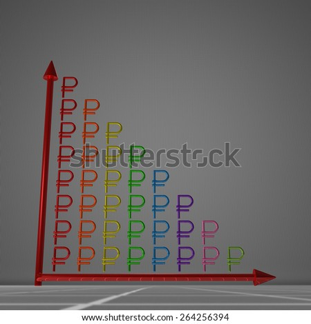 Multicolor glossy bar chart of ruble signs showing decrease, standing on gray background - stock photo