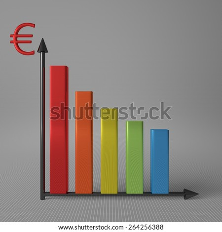 Multicolor glossy bar chart showing decrease, with euro sign on Y axis, standing on gray background, front view - stock photo
