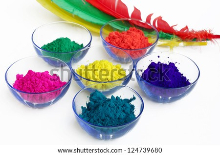 Multicolor gulal kept in bowls - stock photo