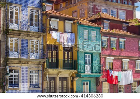 multicolor house facades - stock photo