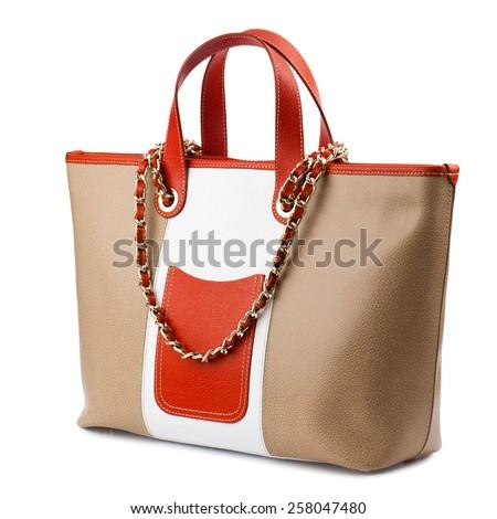 Multicolor leather handbag isolated on white background - stock photo