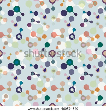 multicolor molecules flat pattern for fabric, paper and web design