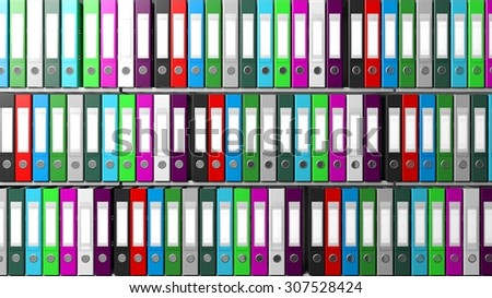 Multicolor office folders with blank label in a row on shelves - stock photo