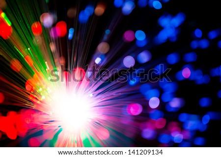 Multicolor optical fiber lighting , dof - stock photo