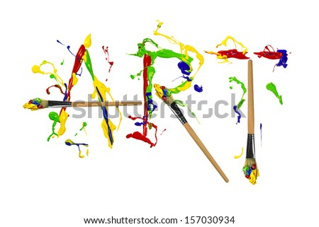 Multicolor paint and painbrushes painted word art