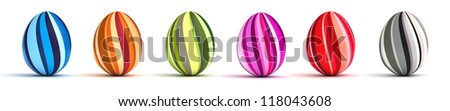 Multicolor painted easter eggs (computer generated image)