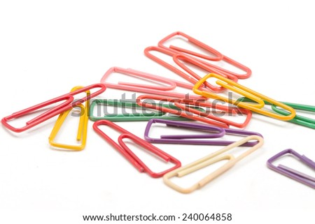 Multicolor paper clips , isolated on white background - stock photo