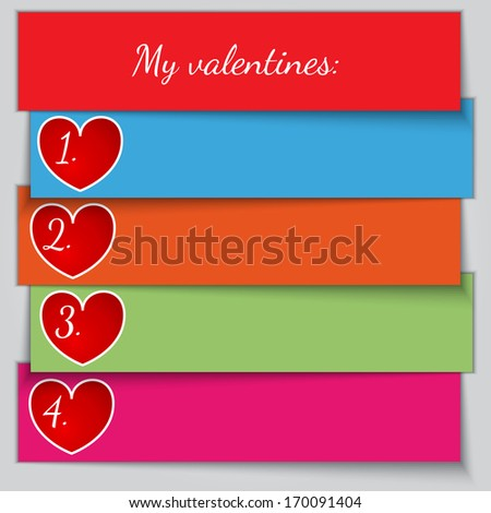 multicolor paper enumerated valentine list - stock photo