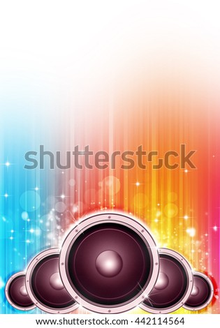 multicolor party music background for flyers and posters - stock photo