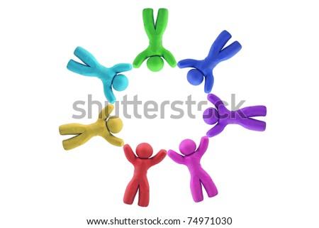 Multicolor Plasticine human figures arranged - stock photo