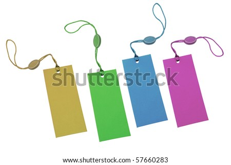 Multicolor price tags isolated on white background