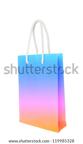 Multicolor recycle paper shopping bag over white floor, clipping path.