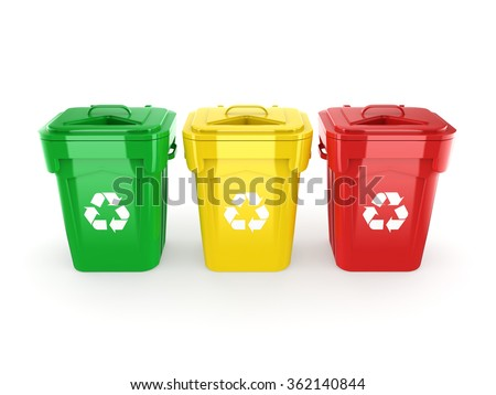 Multicolor  recycling isolated bins on white background