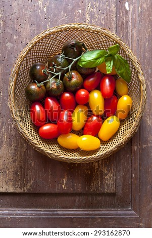 multicolor red and yellow cherry tomatoes in a wooden basket with freshly picked fresh basil - stock photo