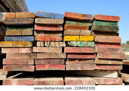 multicolor scaffolding planks - stock photo