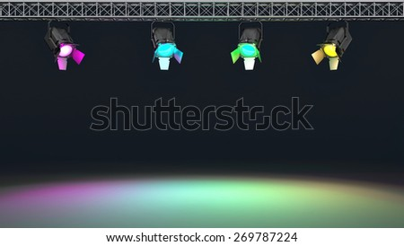 Multicolor spotlights illuminated wall. Space for text. 3d - stock photo