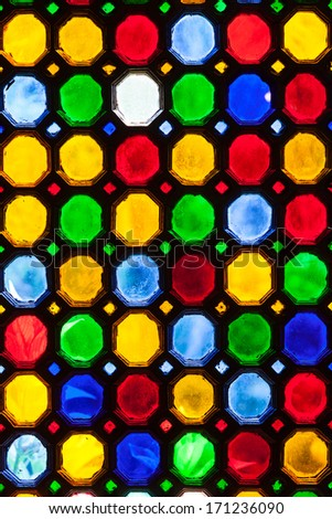 multicolor stained window glass - stock photo