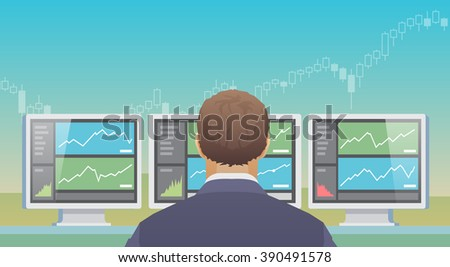Multicolor stock exchange trading set of web banners. Equity market. World economy major trends. Modern flat design. Invest wisely. - stock photo