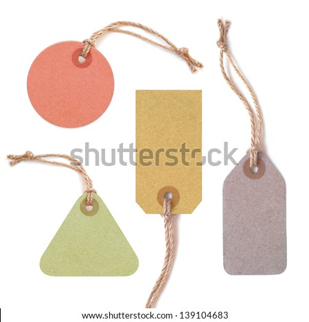 Multicolor tags isolated on white background