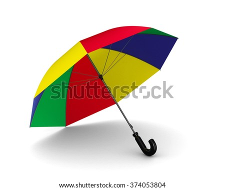 multicolor umbrella on white background. Isolated 3D image - stock photo