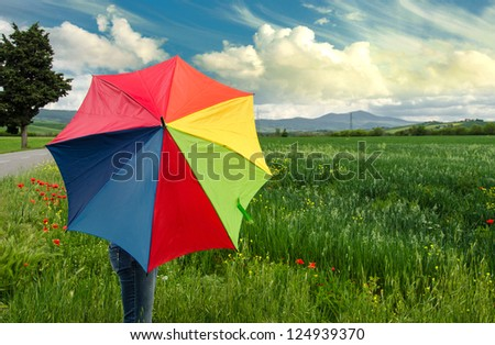 Multicolor Umbrella with Poppies Field in Tuscany