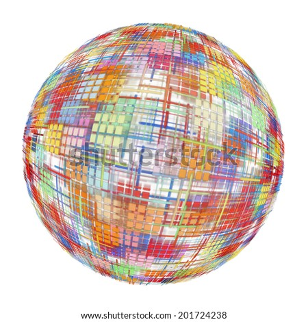 Multicolored abstract globe silhouette on white background.Digitally generated image.