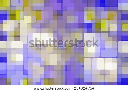 Multicolored abstract mosaic of rounded squares like city lights on a grid, overlapping for illusion of three dimensions - stock photo
