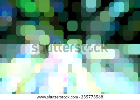 Multicolored abstract mosaic of rounded squares overlapping on a grid for illusion of three dimensions, like so many city lights out of focus - stock photo