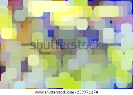Multicolored abstract of rounded squares glowing like city lights, overlapping for illusion of three dimensions - stock photo